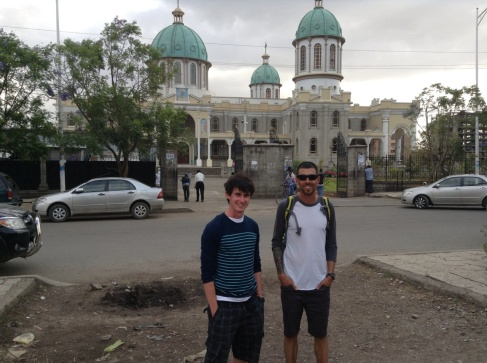 Chris and Rejean in front of the big church