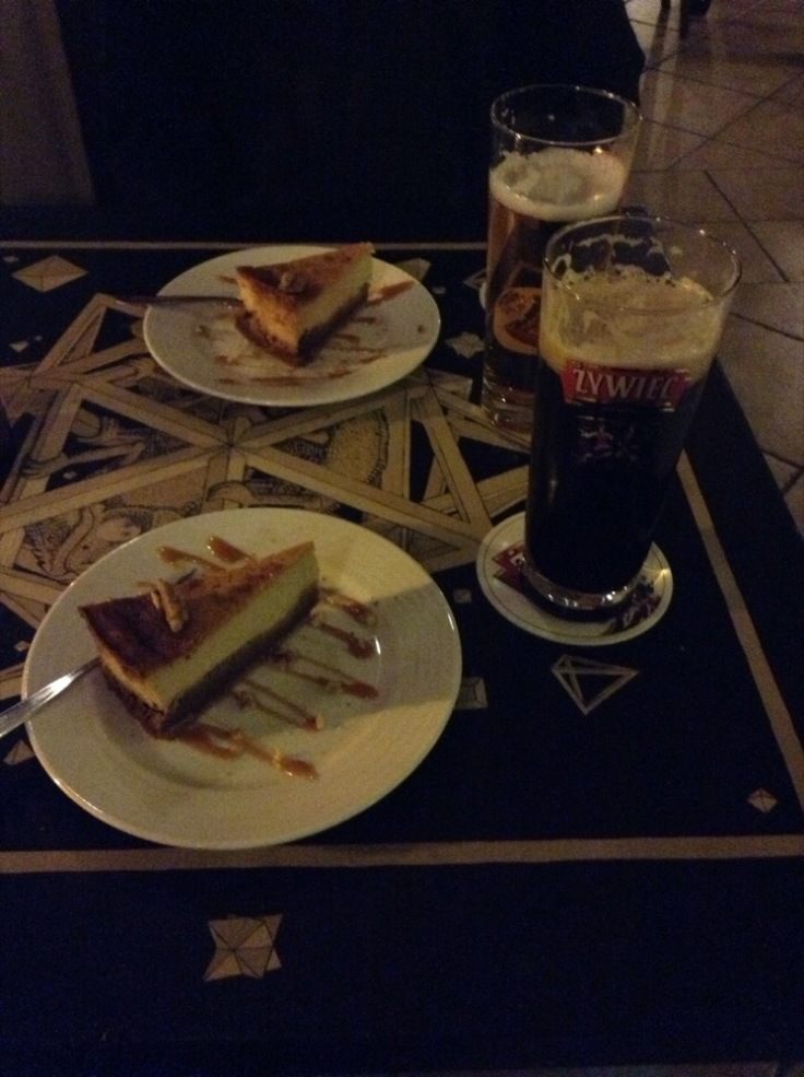 Cake and beer - dinner