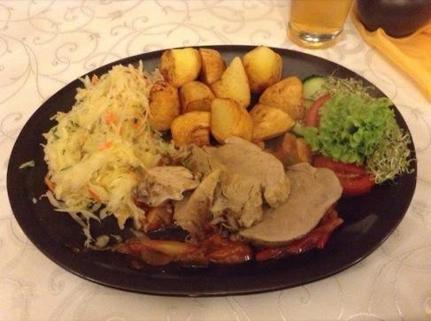 Meat, potatoes, vegetables, salad
