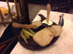 Plate of bread and pickles