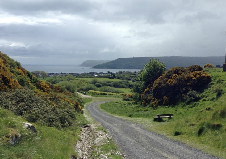 Pebbled track heads through gorse and greenery, with the sea in the distance