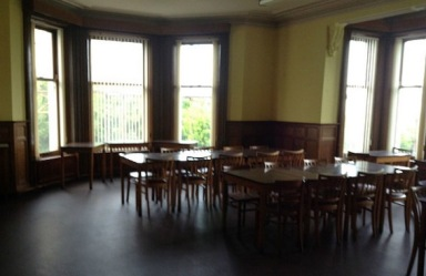 Tables and chairs for 20 or so in the dining room