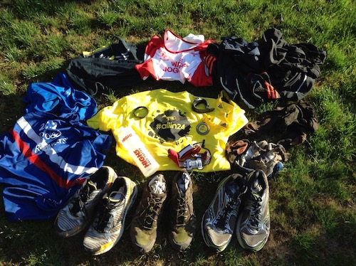 Kit - club vests, three pairs of shoes, head torch, watch, water bottle. And muddy, muddy socks