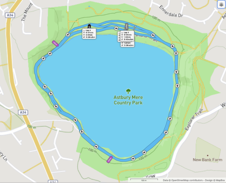 Congleton parkrun route; round the lake at Astbury Mere Country Park