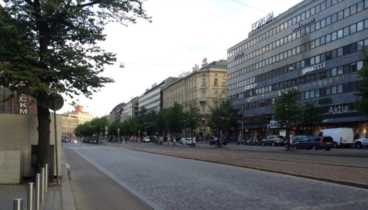 Wide cobbled streets near the Forum, Helsinki