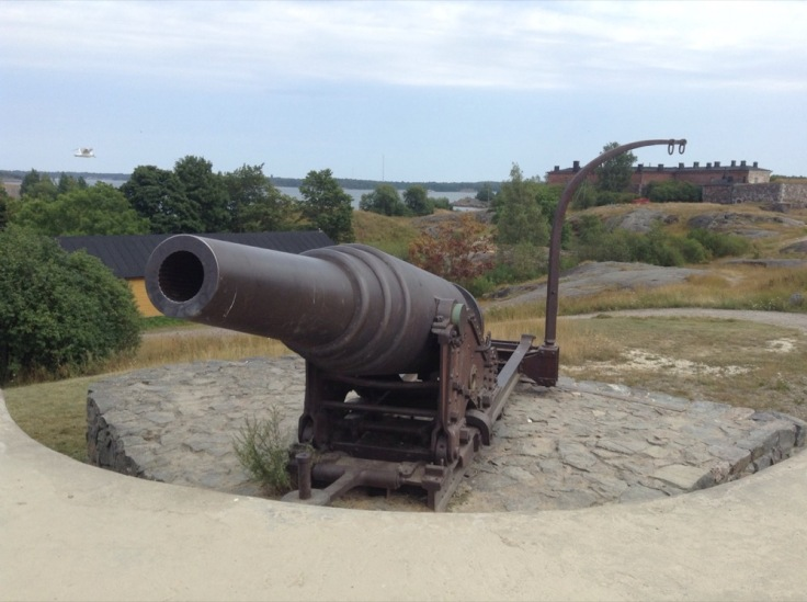 A cannon guards the fort