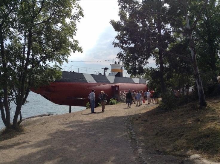 Submarine exhibit on the island