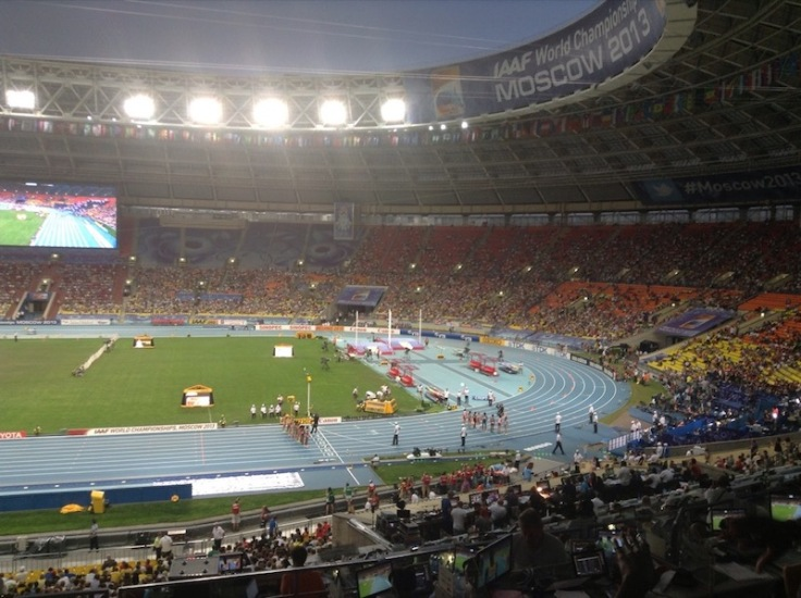 View of the stadium at night, 10,000m about to start