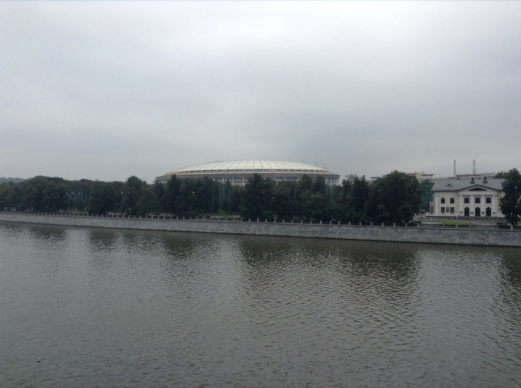 View of the stadium from the other side of the river