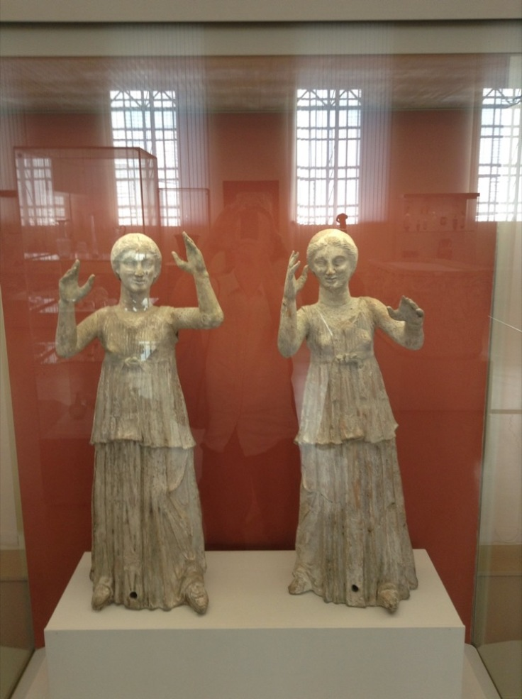 Two statues, resembling dancing weeping angels (from Dr Who)