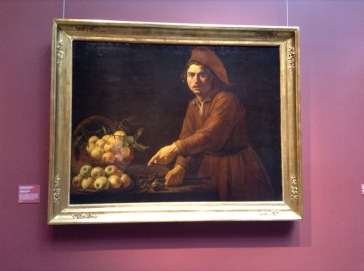 Painting of man gesturing angrily at fruit