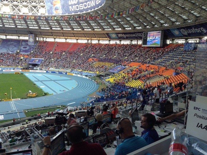 Ukrainians enjoy Bondarenko's medal ceremony, inside the stadium which might be approaching half full. In places.