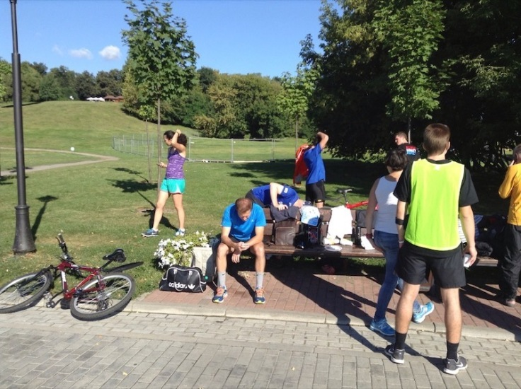 Small crowd at the finish of the 'parkrun'