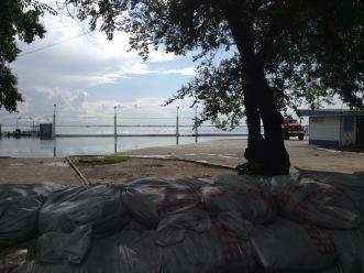 Sandbags marking off a flooded area