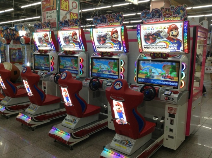 Mario on a row of arcade machines