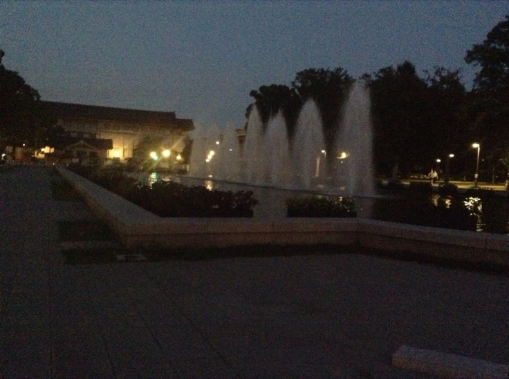 I line of 7 fountains by twilight