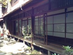 Traditional Japanese building. Wooden with sliding screens
