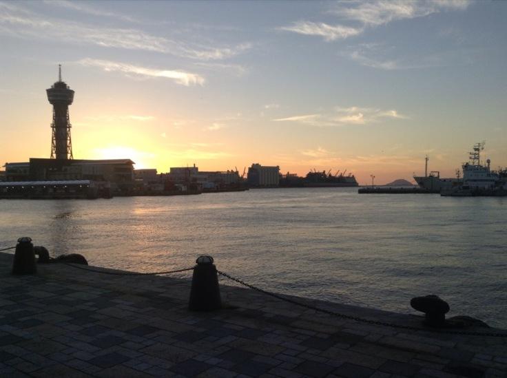 Sunset over a port scene