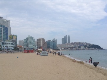 Busy beach, city crammed with buildings behind
