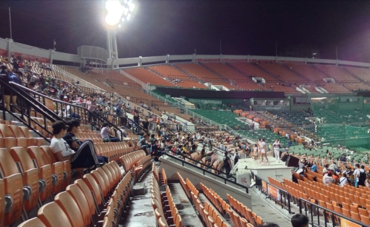 More people in the stands now the game is on, but masses of space