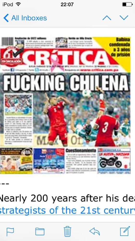"""Fucking Chilena"" reads the headline"