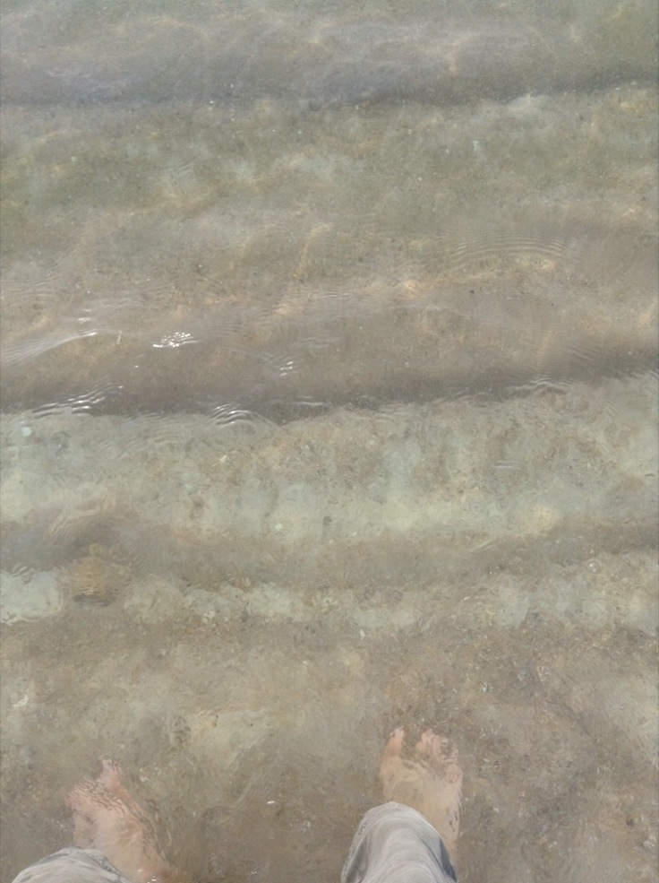 My feet, in the sea as the water ripples over them, sun splashing on the tops of the tiny waves