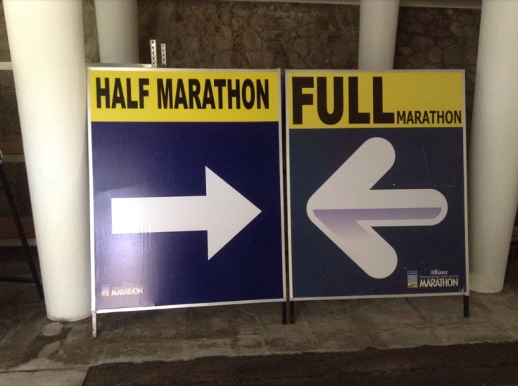 I stumbled over a half marathon and full marathon sign, tucked away behind the fort