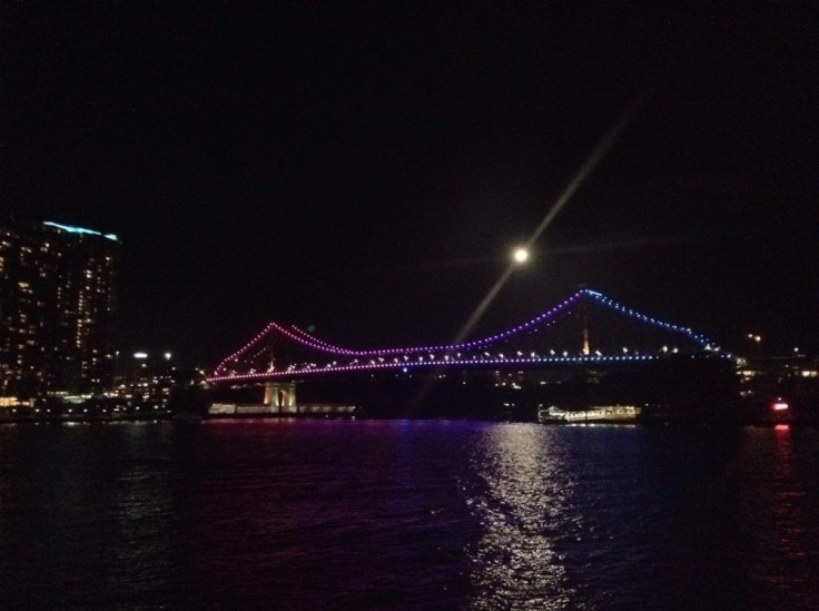 Bridge in Brisbane, lit up in colour-changing lights