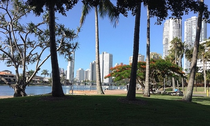 Park and trees. Skyscrapers next to the ocean are behind