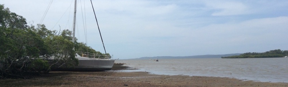 Little bay, beached boats.