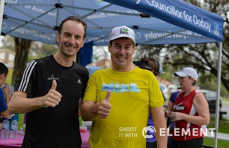 Thumbs up from me and Glenn Miller, wet, post-run