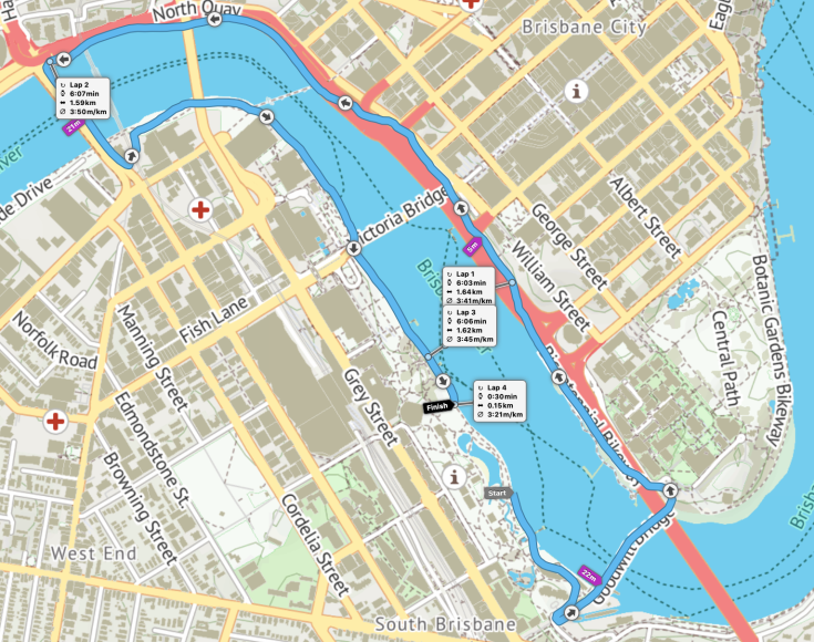 South Bank parkrun route