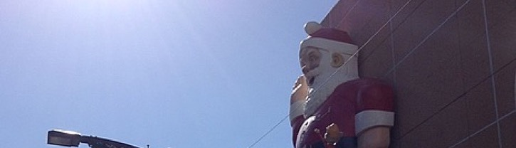 Santa decoration, on the side of a shopping centre