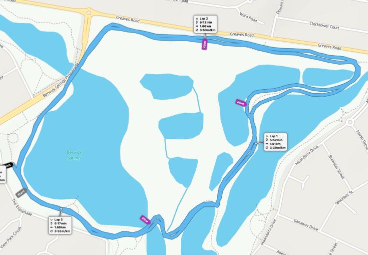 Berwick Springs parkrun route