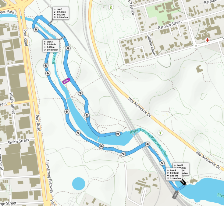 Torrens parkrun route
