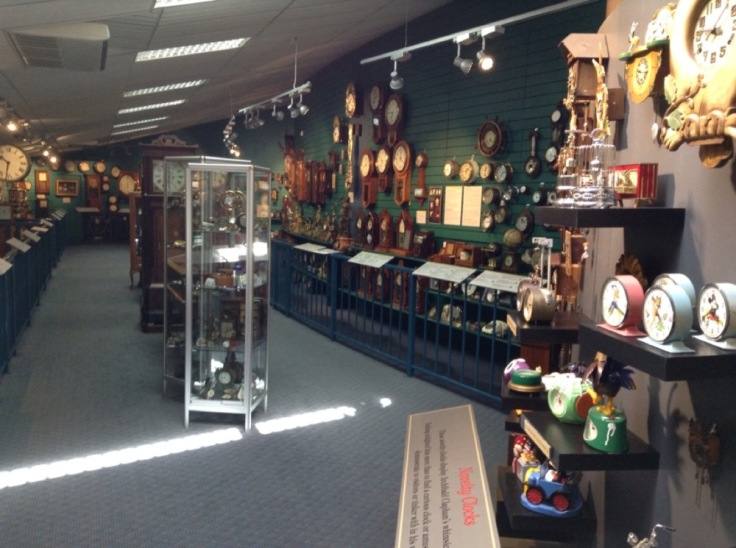 Clocks, clocks, clocks, on the wall, on shelves, in display cases