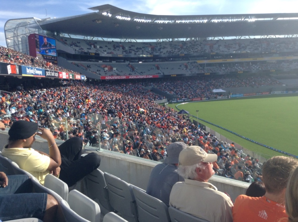 Much fuller stadium, except the upper tiers, as the match gets underway