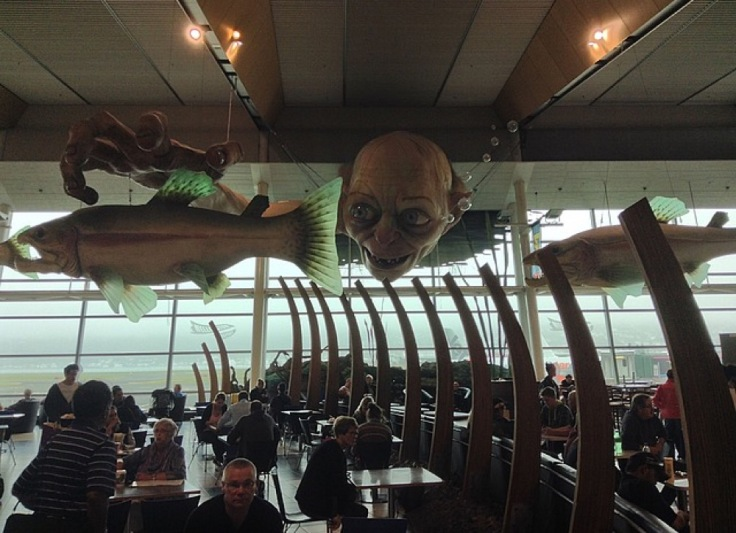 Gollum's head hangs from the ceiling at Wellington Airport