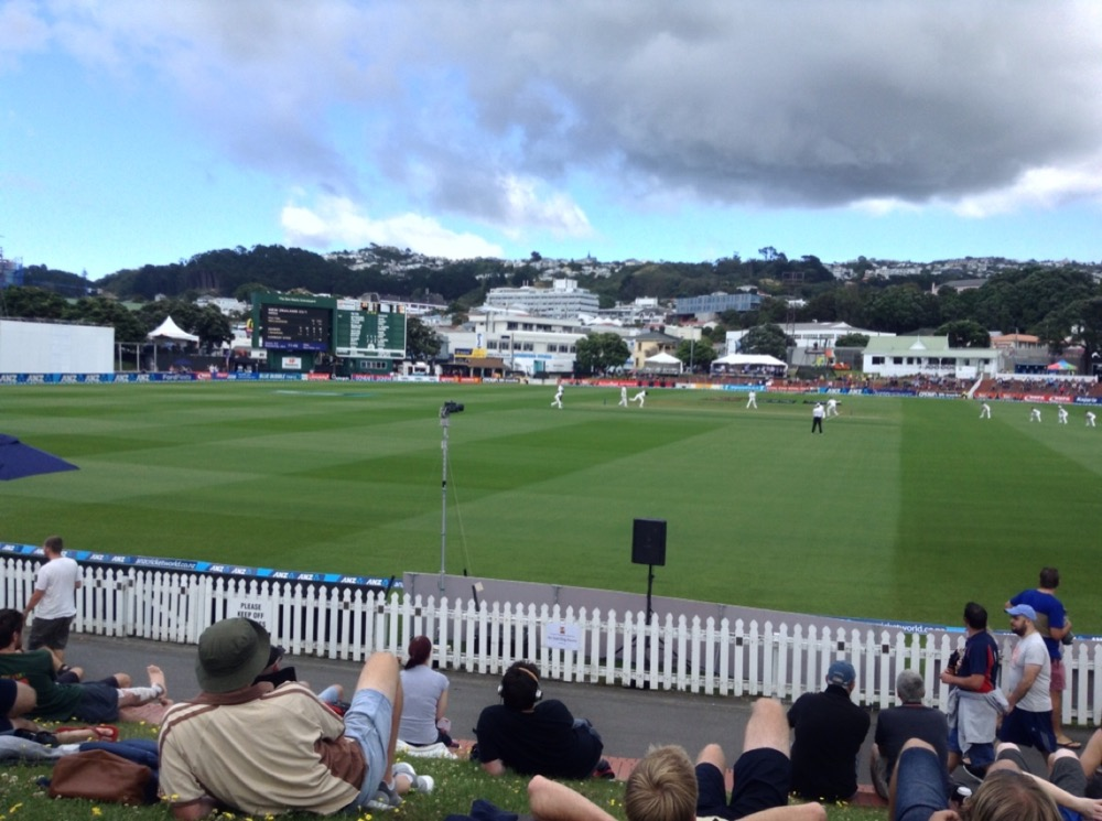 View from the bank to the white picket fence, then the pitch beyond, play in progress