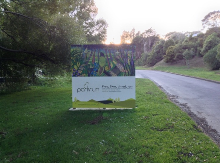 A large, permanent, sign announces that parkrun takes place here
