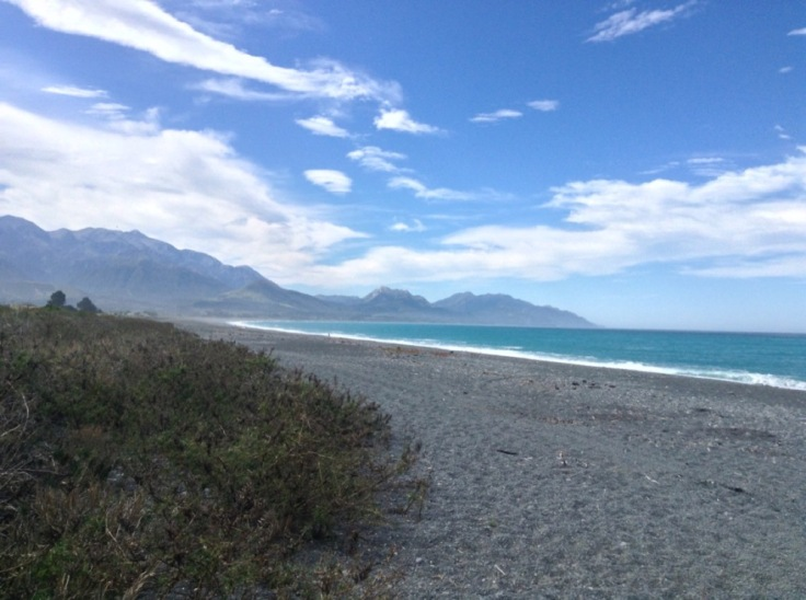 A view of the beach, blue sea and mountains in Kaikoura