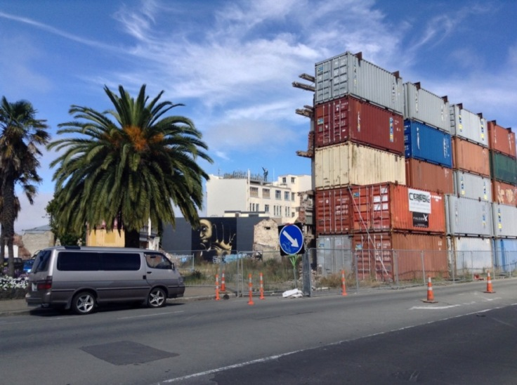 Shipping containers blocking or shielding an area