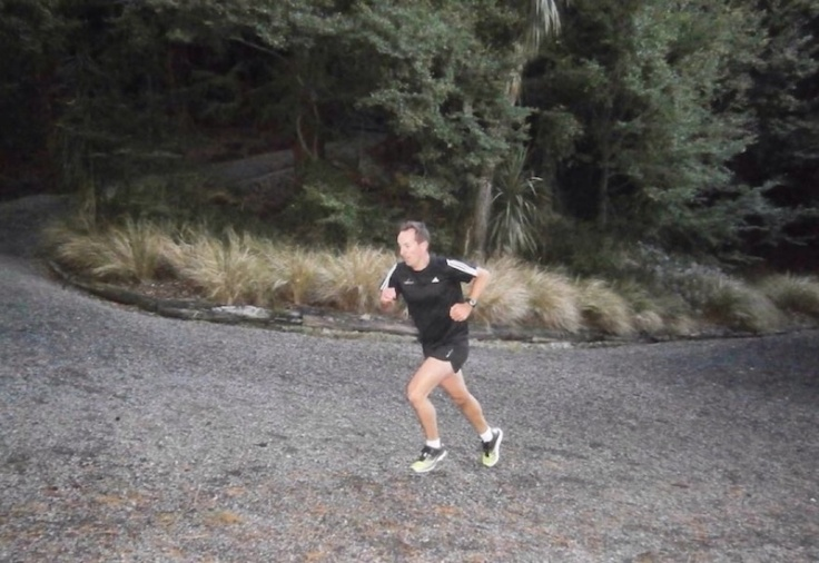 Me, struggling while running up the hill at Dunedin