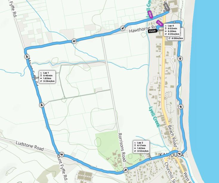 Kaikoura 5k route