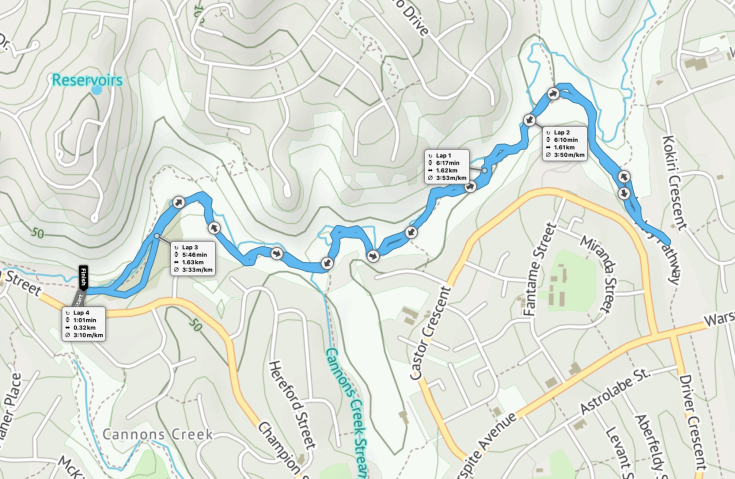 Porirua parkrun route - out and back, up and down the hill