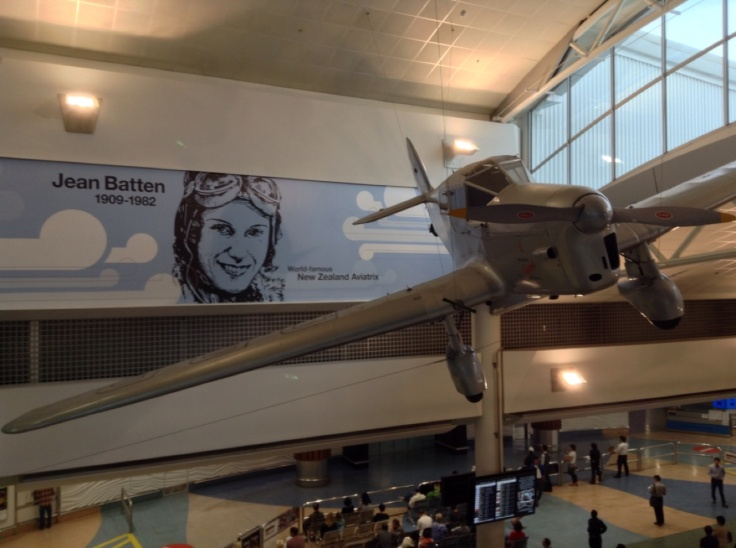 Jean Batten's plane, hung from the roof of Auckland airport