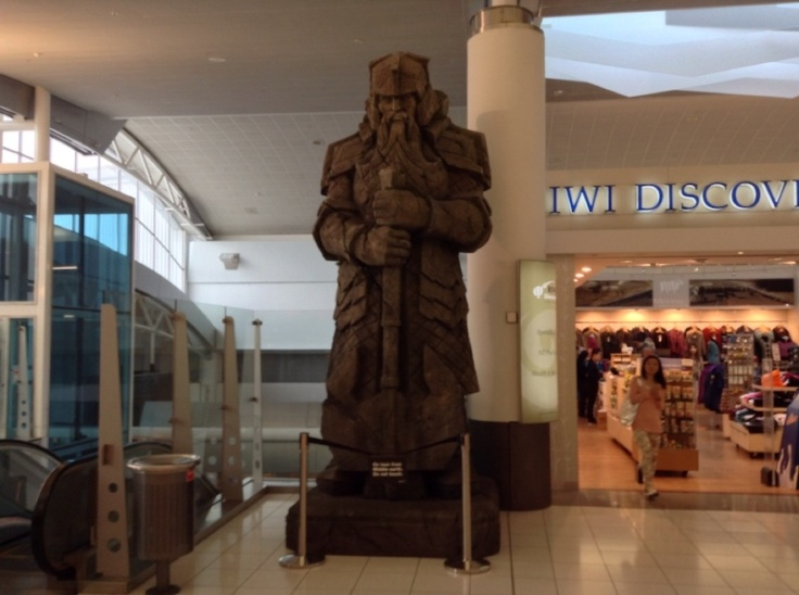 A large sculpture of a warrior from LOTR