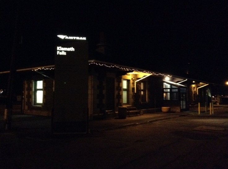Klamath Falls Amtrak station at night.