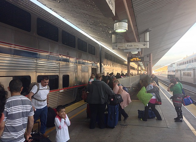 Double-decker silver train in LA