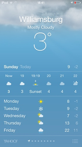 Screenshot of weather, showing 8 degrees on Monday, 7 on Wednesday, 22 on Friday